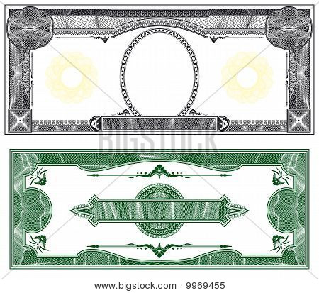 ... of Blank banknote layout with obverse and reverse based on dollar bill