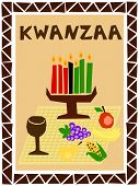 stock photo of unity candle  - traditional kwanzaa stuff drawn in simple manner - JPG