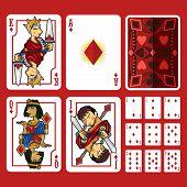 Постер, плакат: Diamond Suit Playing Cards Full Set