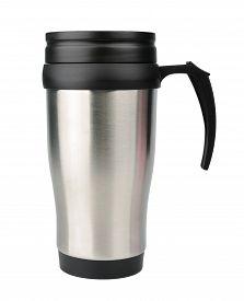 image of thermos  - Aluminum thermos mug isolated on white - JPG
