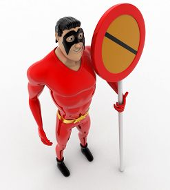 foto of no entry  - 3d superhero with no entry or stop sign concept on white background top angle view - JPG