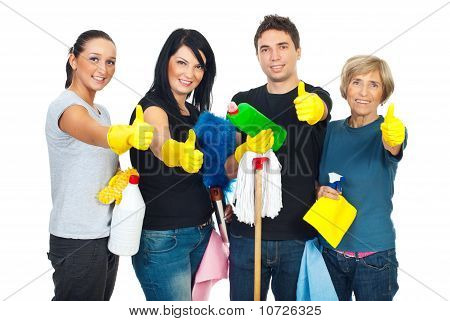 Picture or Photo of Successful cleaning people teamwork giving thumbs up and holding products for clean house