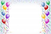 picture of happy birthday  - multicorored birthday balloons with confetti on the white background - JPG