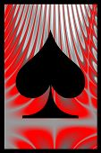 image of playing card  - spades playing card with flaming red background - JPG