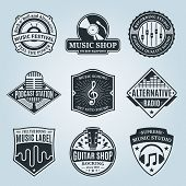 Постер, плакат: Set Of Vector Music Labels Icons And Design Elements