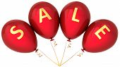 stock photo of colorful banner  - Red balloons decorated with golden word Sale - JPG