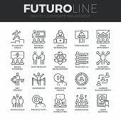 Corporate Management Futuro Line Icons Set poster