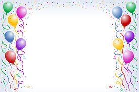 image of happy birthday  - multicorored birthday balloons with confetti on the white background - JPG