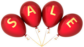 picture of colorful banner  - Red balloons decorated with golden word Sale - JPG