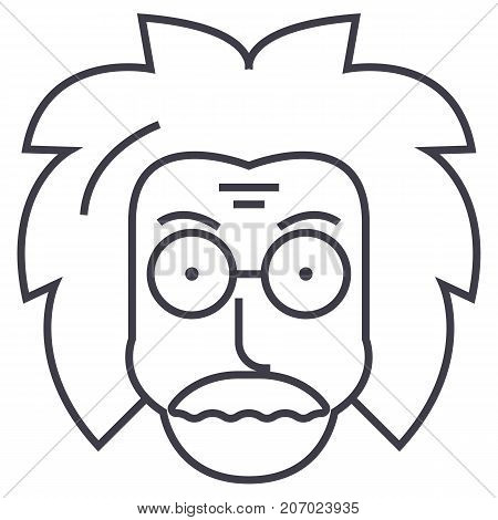 poster of professor, einstein, scientist, freak vector line icon, sign, illustration on white background editable strokes