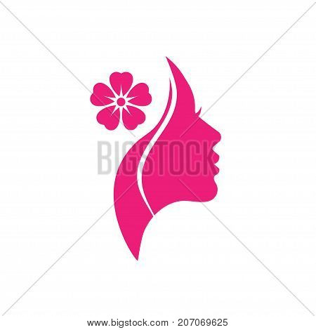 poster of Vector logo for woman salons and shops, a young beautiful woman Stylized with flower, Abstract logo for a beauty salon