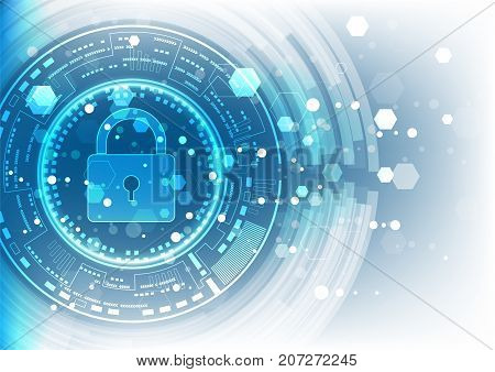 poster of Cyber security concept: Padlock With Keyhole icon on digital data background. Illustrates cyber data security or information privacy idea. Blue abstract hi speed internet technology.