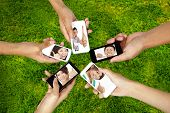 stock photo of mobile-phone  - social network on the smart phone of young group - JPG