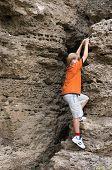 pic of climbing wall  - little boy in orange t - JPG