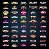 Sport Emblem Typography Set. Super Logo For Your T-shirt. Mega Logotype Collection poster