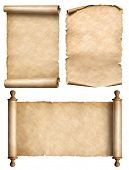 old scroll, parchment, papyrus vintage 3d illustration set poster