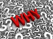 """picture of question-mark  - """"WHY"""" 3D text surrounded by question marks. Part of a series. - JPG"""