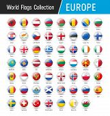 Set Of European Flags - Vector Round Icons poster