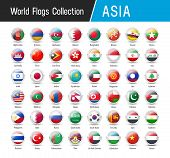 Set Of Asian Flags - Vector Round Icons poster