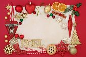 Christmas background border with noel sign, bauble decorations, mince pie, holly, mistletoe, fir, dr poster
