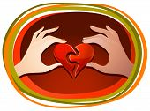 stock photo of reunited  - Male and female hands each holding one half of the heart and matching the halves together - JPG