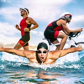 Triathlon swim bike run triathlete man training for ironman race concept. Three pictures composite o poster