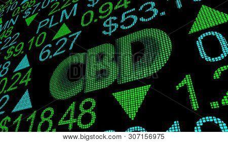 poster of CBD Cannabidiol Hemp Marijuana Cannabis Stock Market Business Company Investment 3d Illustration