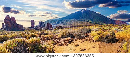 poster of Colorful Scenic Landscape Of Sunset In Tenerife National Park Of Teide.alto De Guajara.canary Island