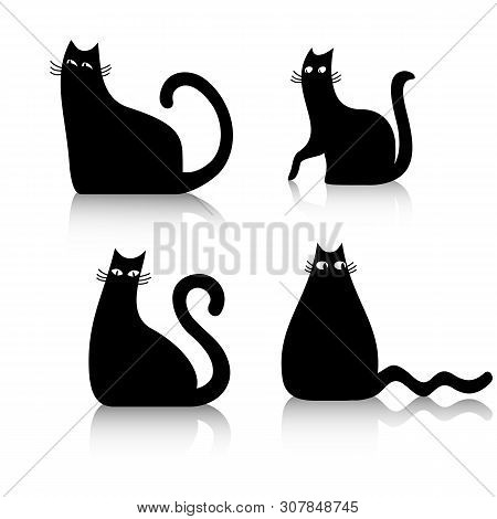poster of Black Cats On A White Background. Vector Illustration Of Cats. Cats Symbol, Black Cats Icons.
