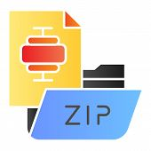 Zip Folder Flat Icon. Archiving Folder Color Icons In Trendy Flat Style. Compressed Folder Gradient  poster
