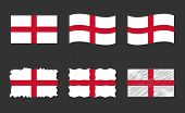 England Flag Vector Illustration Set, Official Colors Of Flag Of England poster