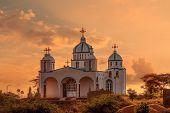 Beautiful Architecture Of Orthodox Christian Church In Sunset, Oromia Region Ethiopia, Africa poster