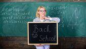Start School Year. Top Ways To Welcome Students Back To School. Teacher Woman Hold Blackboard Inscri poster