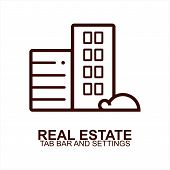 Real Estate Icon Isolated On White Background From Tab Bar And Settings Collection. Real Estate Icon poster