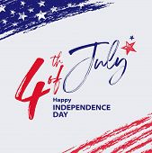 Fourth Of July Design With Hand Drawn Elements And Lettering. 4th Of July Holiday Banner. Usa Indepe poster
