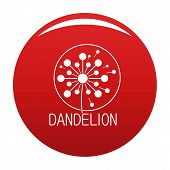 Faded Dandelion Logo Icon. Simple Illustration Of Faded Dandelion Vector Icon For Any Design Red poster