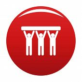 Strong Teamwork Icon. Simple Illustration Of Strong Teamwork Vector Icon For Any Design Red poster