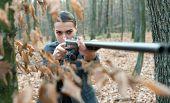 Military Fashion. Gun Barrel. Achievements Of Goals. Girl With Rifle. Chase Hunting. Gun Shop. Femal poster