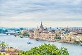 A Landscape View Of Budapest City, The Hungarian Parliament. poster