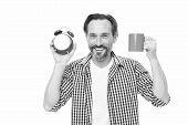 Man Hold Alarm Clock And Mug Coffee. Morning Habits. Take Control Of Time. Check Time. Tips For Savi poster