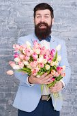 Romantic Gift. Macho Getting Ready Romantic Date. Waiting For Darling. Tulips For Sweetheart. Man We poster