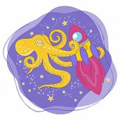 Octopus Rocket Cartoon Space Cosmos Galactic Universe Journey Traveling Travel Animal Vector Illustr poster