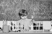 Wunderkind And Early Development. Small Pupil Learning Chemistry In School. Chemistry Laboratory. Pr poster