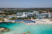 Cyprus, Ayia Napa Beautiful Aerial View Of The Most Famous Beaches In Cyprus - Nissi Beach, Landa Be poster