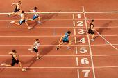Finish Line Man Runners Sprinters Run 100 Meters Race Athletics poster