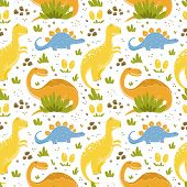 Dinosaurs Seamless Patterns With Funny Dinosaurs In Cartoon Style poster