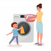 Mother With Son Doing Laundry Characters. Child Helping Mom Doing Domestic Chores Isolated Illustrat poster