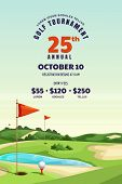 Golf Tournament, Poster, Ticket Or Banner Design Template. Vector Cartoon Illustration Of Golf Cours poster