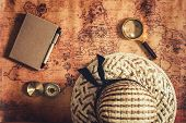 Navigation Explore Of Journey Planning, Travel Destination And Expedition Plan Vacation Trip., Close poster