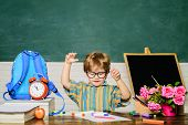 Kid Enjoy Learning. Learning At Home. Child In Classroom. Cute Kid Drawing At Desk. Boy From Primary poster